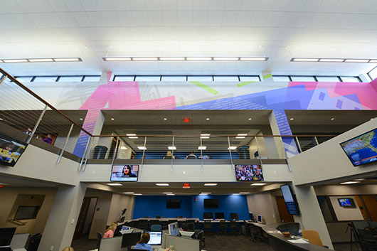 Packet Switching (Weimer Hall), University of Florida, inkjet on polyester on panel, 177.5 ft. x 20.21 ft., 2012; Photograph by Steve Johnson / UF College of Journalism and Communications (2012) (photograph by Steve Johnson / UF College of Journalism and Communications)