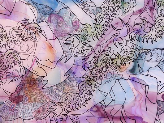 Swarm Separating Self: Berlin (detail), Ink on vellum, 24x36 in, 2009