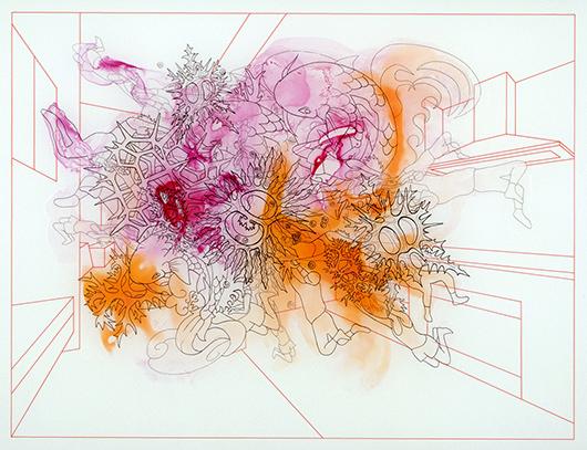 Swarm Separating Self: Kuala Lampur (detail), Ink on vellum, 24x36 in, 2009