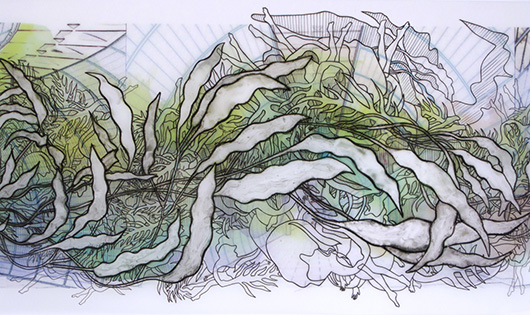 Swarm Separating Self: Haupbahnhof Pondweed (detail), Ink on vellum, 10x45 in, 2009