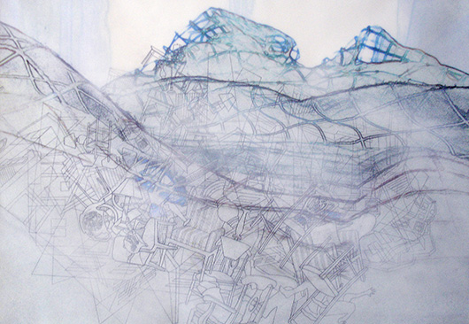Thin Cities: Furniture Haze in the Holler (Blue), Ink + acrylic on vellum, 30 x 40 in, 2010
