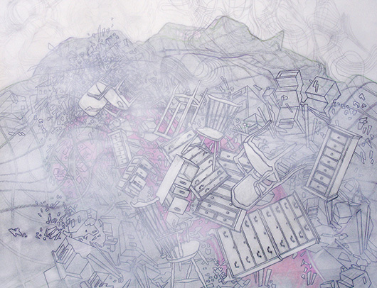 Thin Cities: Furniture Haze in the Holler (Pink), Ink + acrylic on vellum, 30 x 40 in, 2010