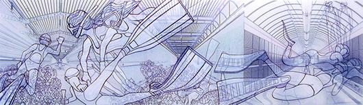Thin Cities: Underwater Hockey (x3), Ink + acrylic on vellum, 8x27 in, 2008