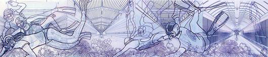 Thin Cities: Underwater Hockey, Ink + acrylic on vellum, 9x36 in, 2008