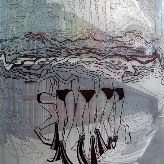 Thin Cities: Dulferstrasse Rosie Built, Ink + acrylic on vellum, 24x24 in, 2008