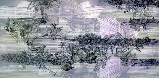 Thin Cities: Caltrans + Climbers, Ink + acrylic on vellum, 60x36 in, 2007