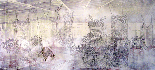 Thin Cities: Clothes + Knitting Nymphs, Ink + acrylic on vellum, 72x36 in, 2007