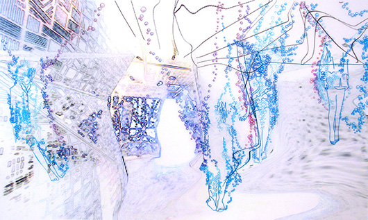 Thin Cities: Underwater, Ink + acrylic on vellum, 24x36 in, 2007
