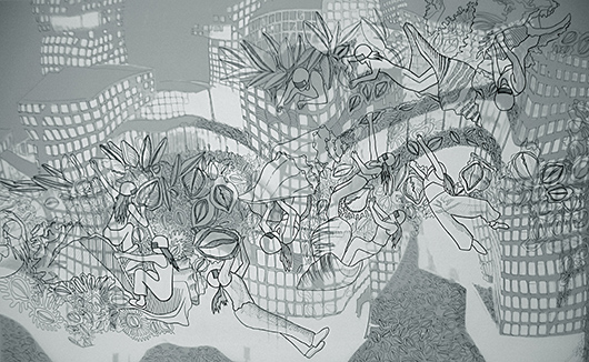 Thin Cities: Earthquake, Ink + acrylic on vellum, 24x36 in, 2007