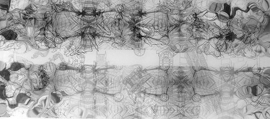 Thin Cities: Clothes + Octopi, Ink + acrylic on vellum, 24x36 in, 2007